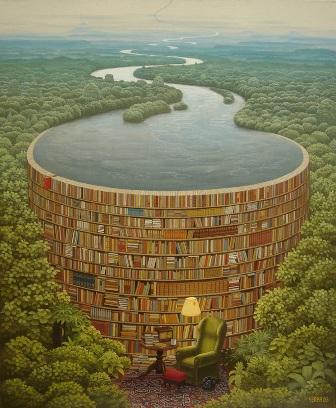 Jacek Yerka painting 'Bible Dam'