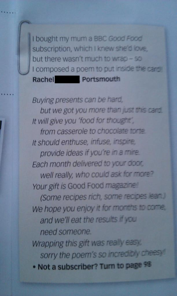 Picture of poem in Good Food magazine