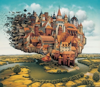 The City is Landing - Jacek Yerka