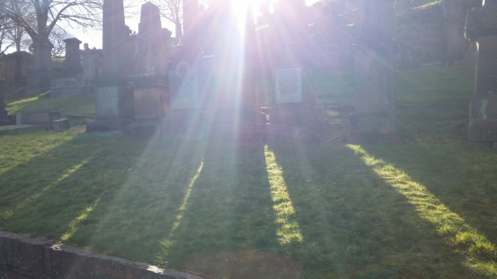 shadows and sunlight through gravestones