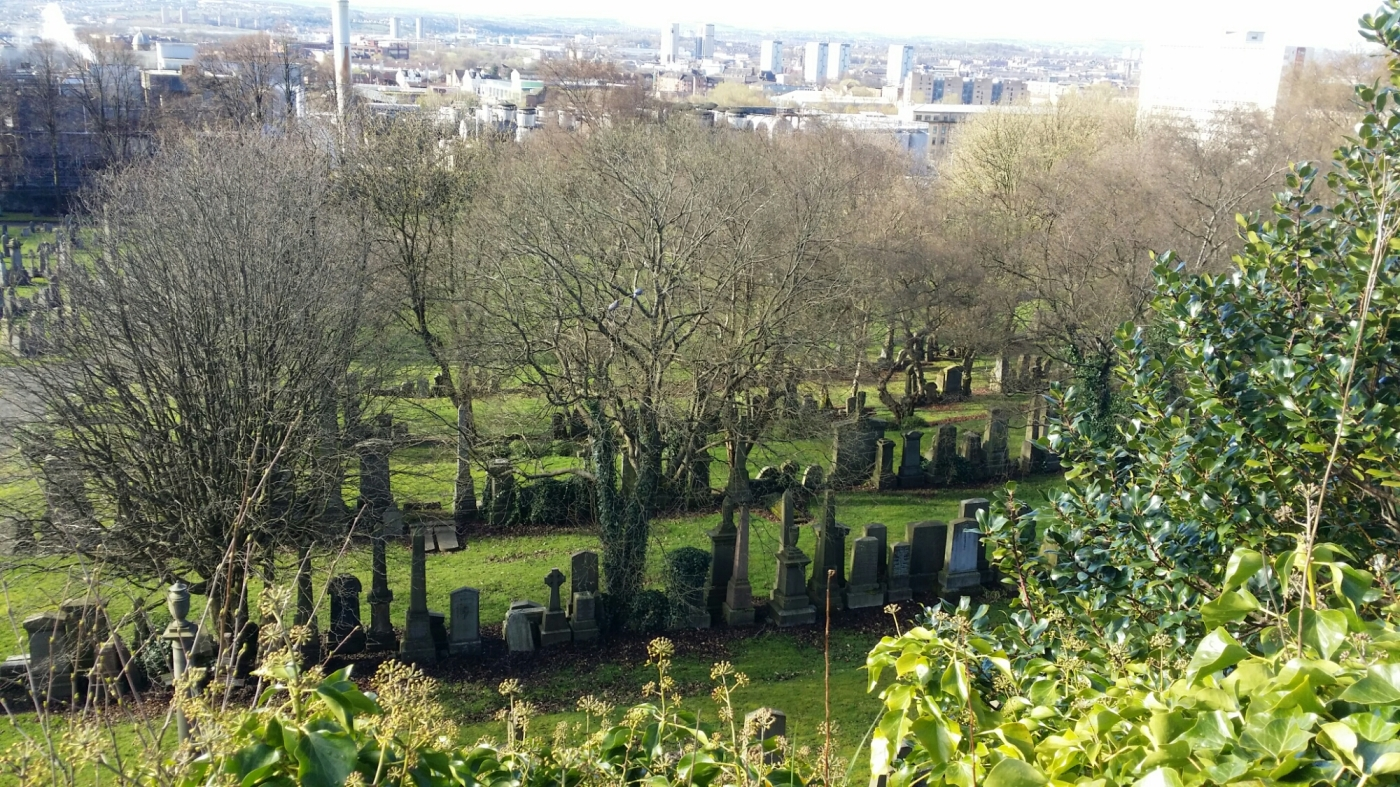 View across graves at Glasgow Necropolis