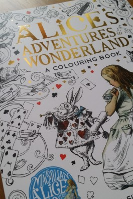 Photo of cover of Alice in Wonderland colouring book