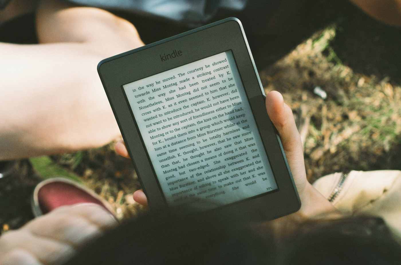 Hand holding ebook