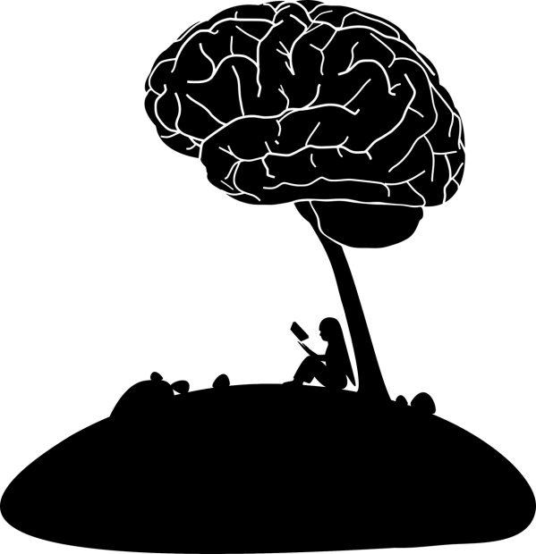 Image of girl reading sitting under brain tree
