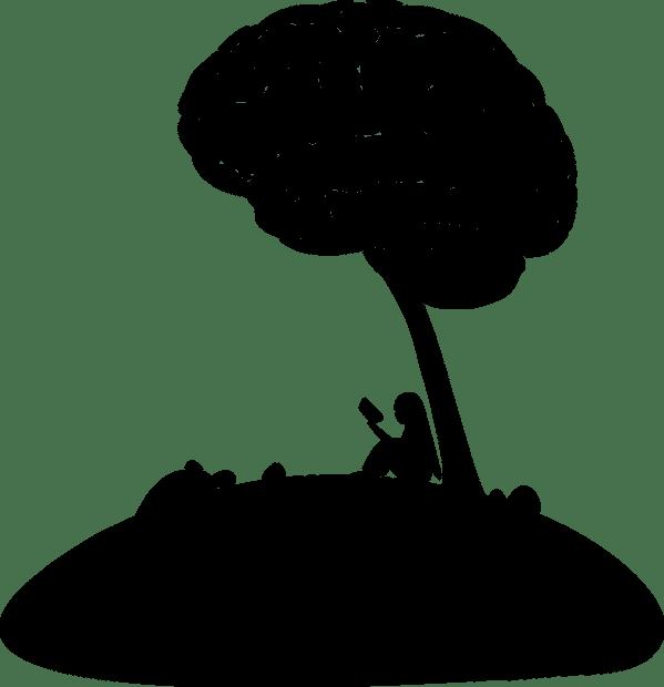 Image of girl reading sitting under brain tree
