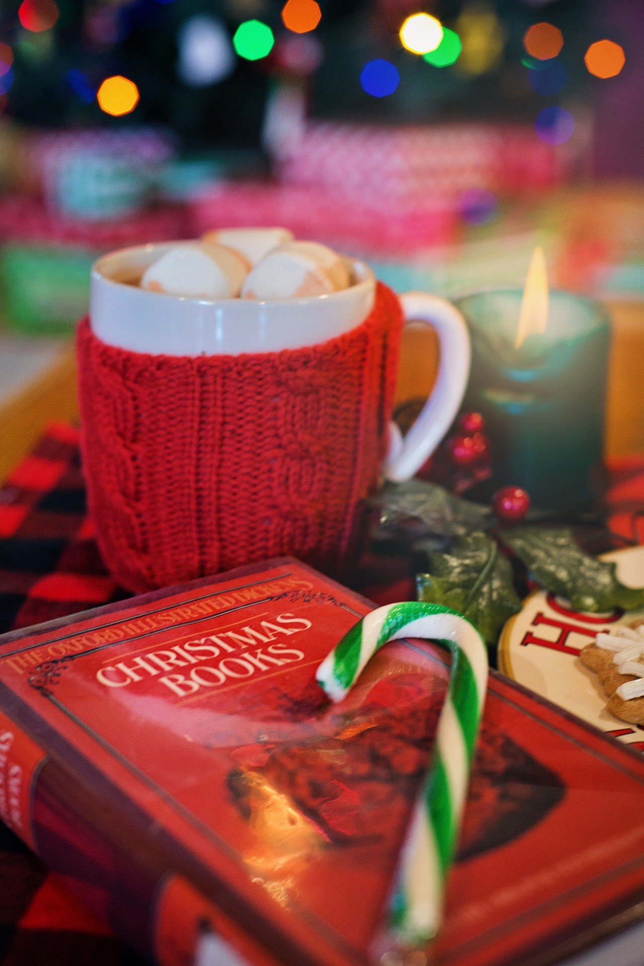 Photo of Christmas book with hot chocolate